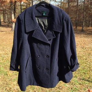 Ulla Popken Wool Blend Pea Coat 32/34 Navy Blue !